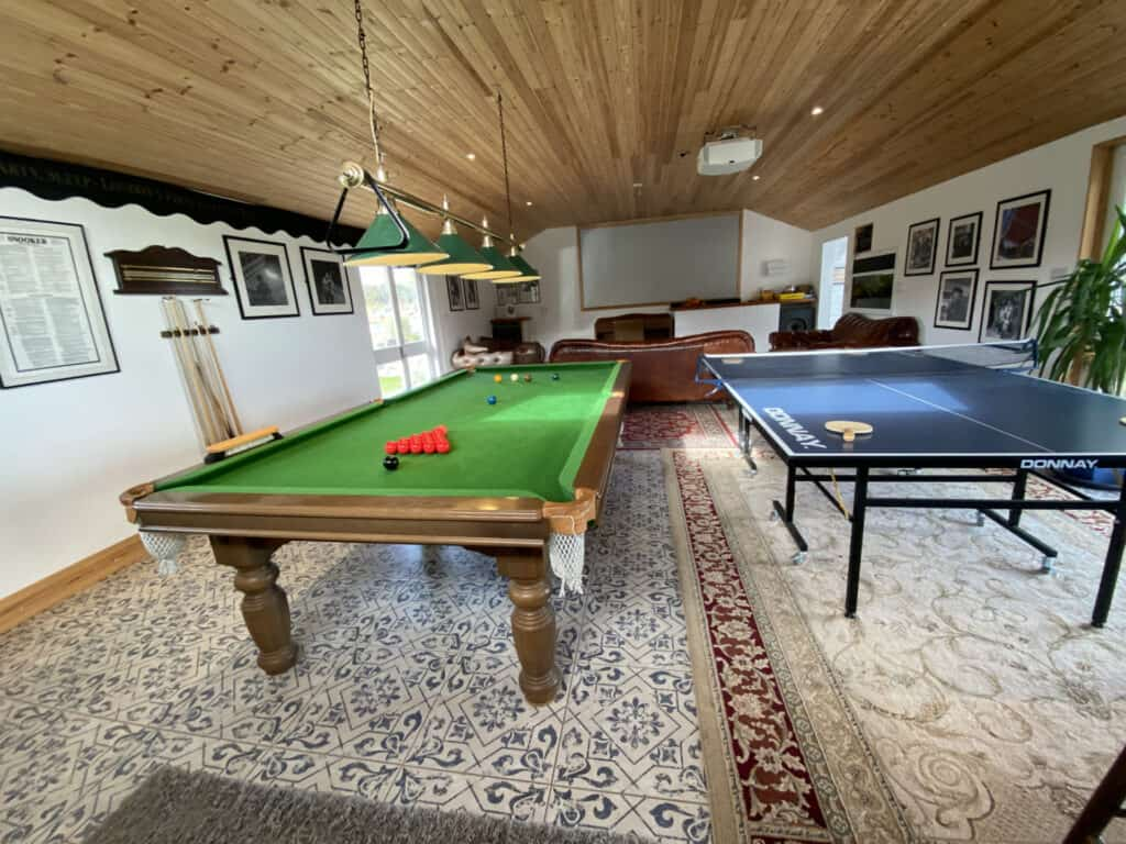 Snooker Table and Table Tennis Games Room